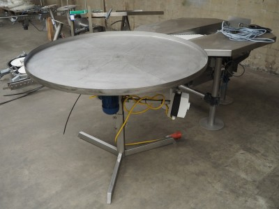 Stainless Steel Rotary Table (Lazy Susan) 1250mm with Outfeed Conveyor