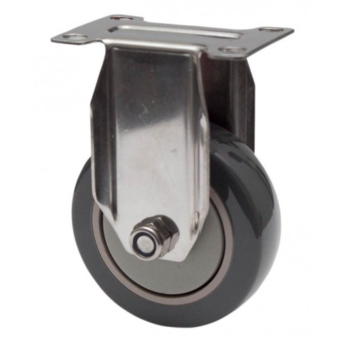 Stainless Steel Fixed Castor - 100mm Polyurethane Wheel