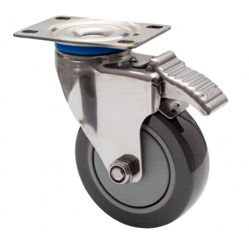 Stainless Steel Swivel Locking Castor - 100mm Polyurethane Wheel