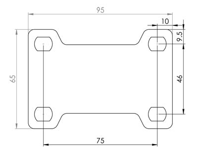 Stainless Steel 100mm Fixed Castor Base Plate Dimensions