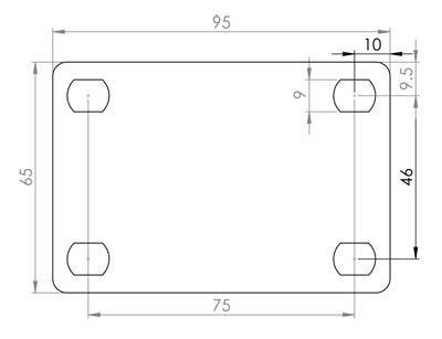 Stainless Steel 100mm Swivel Castor Base Plate Dimensions