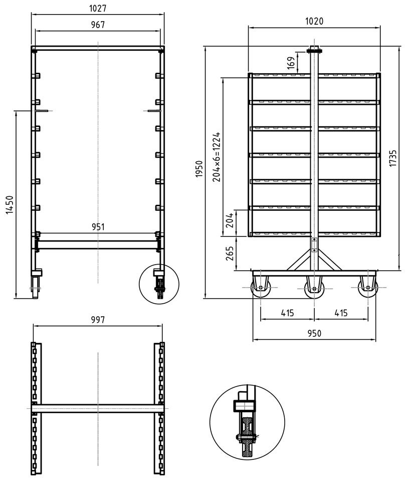 Pacific 8 Rack Stainless Steel Smoke Trolleys